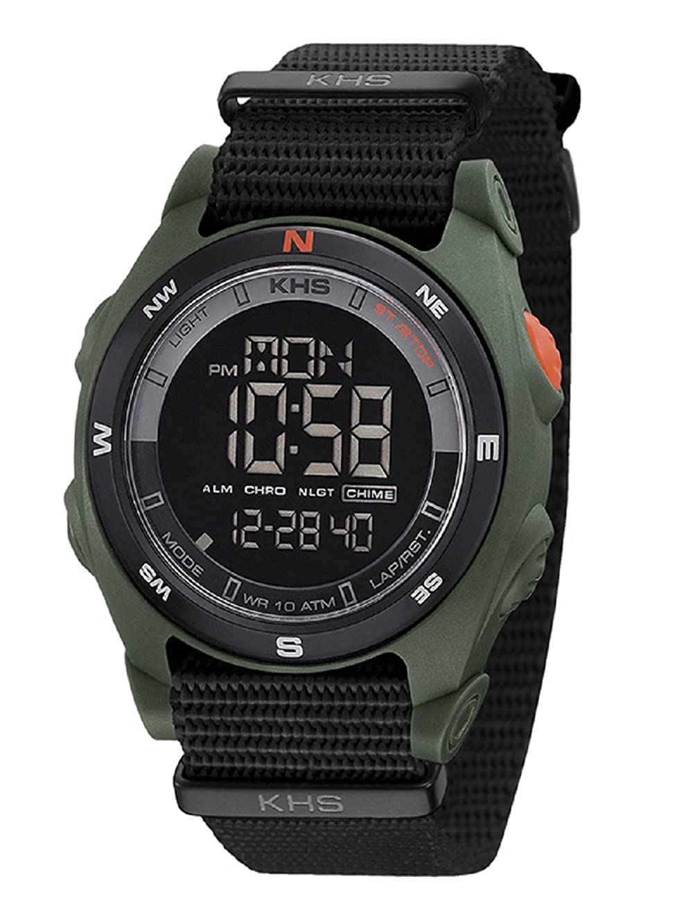 KHS Tactical reloj hombre Sentinel DC Olive | Nato Black cronógrafo KHSO
