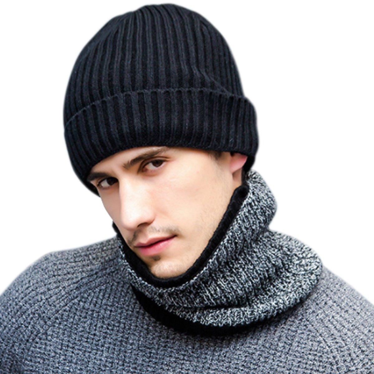 JOYEBUY Stylish Men 3 PCS Warm Winter Set Wool Knitted Beanie Hat + Scarf + Touch Screen Gloves (Black)