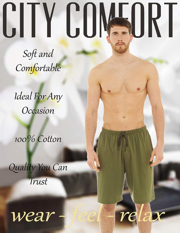 Confezione da Due Shorts in Cotone con Vita Elasticizzata CityComfort Pantaloncini da Uomo M, Nero /& Kaki Pacco Doppio Pantaloncini Corti Pigiami per Uomo in Cotone Pigiama Uomo Corto