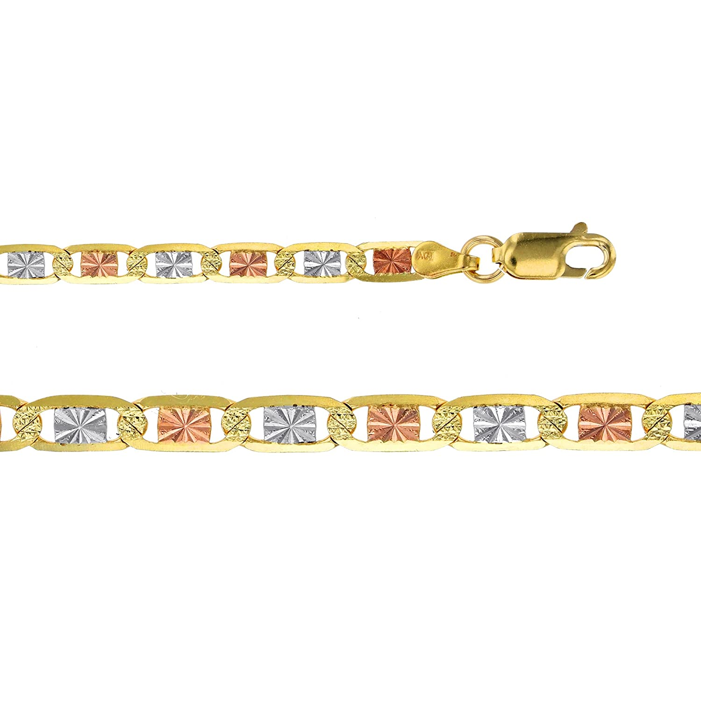 14K Gold Tricolor 2MM Valentino Star Diamond Cut Chain