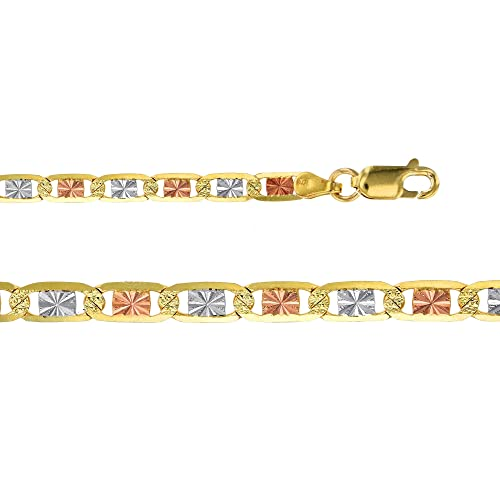 14K Gold Tricolor 2MM Valentino Star Diamond Cut Chain