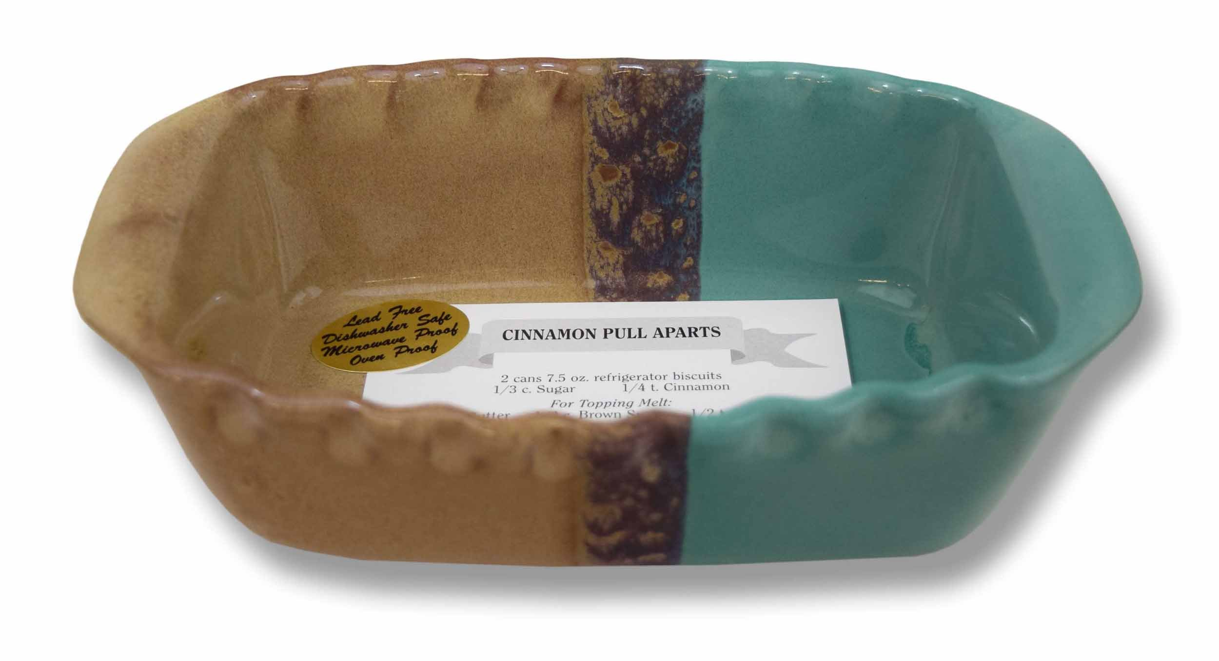 Clay In Motion Handmade Ceramic 1.25 Quart Loaf Pan - Island Oasis