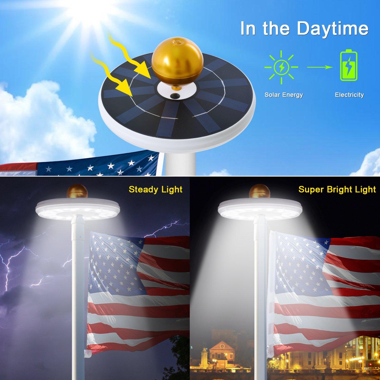 Solar Flag Pole Lights 32 LED Solar Powered Flagpole Lighting Night Light Kit for 15 to 25 Ft Top (Built-in Li-ion Battery) by Feelle (Image #5)