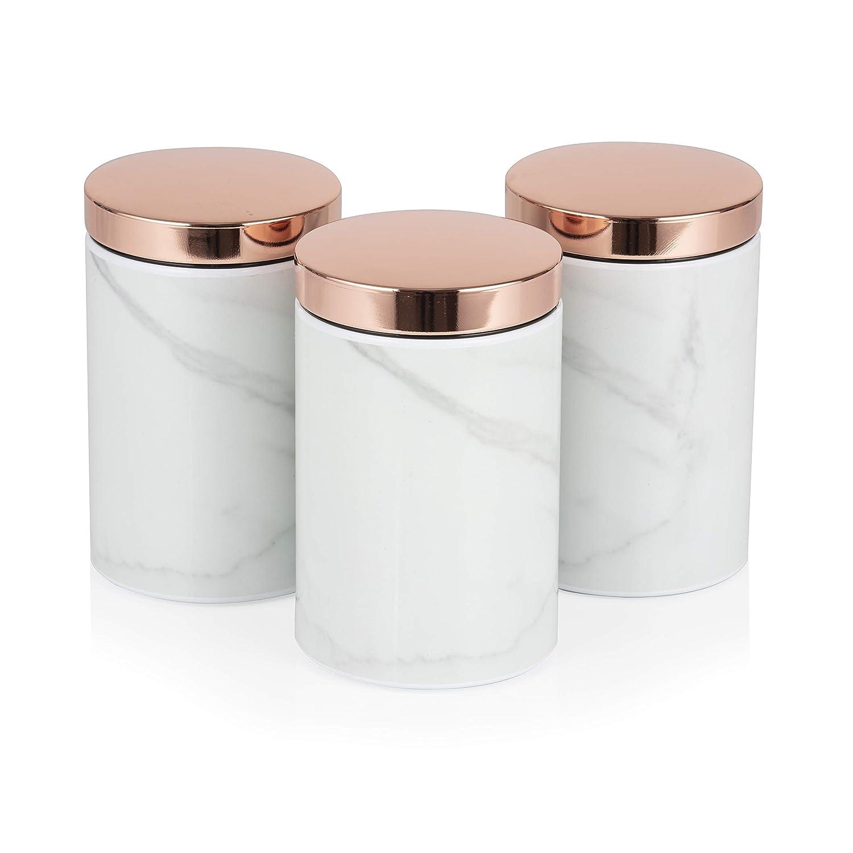 Taglia Unica Set di 3 barattoli in Acciaio Inox Oro Rosa Marmo Bianco Tower