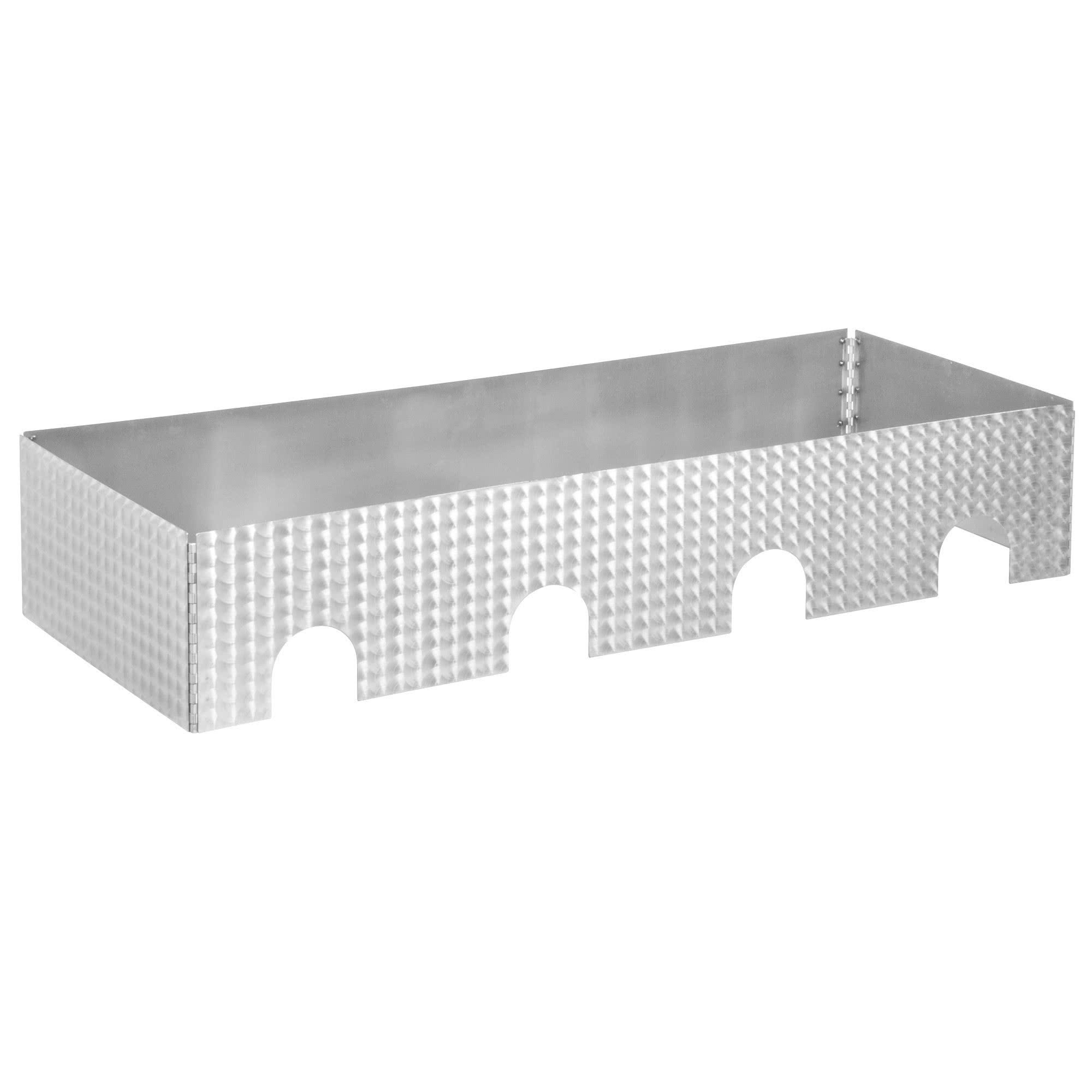 TableTop king Caterware CW604CSS 4-Well Collapsible 16 Gauge Circle Swirl Stainless Steel Server - 51 1/2'' x 20 1/2'' x 10''