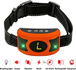 PETOWN NEWEST 2018 VERSION FLASHING LIGHTS Bark Collar with UPGRADED Smart Chip - Best Intelligent Dog Shock, Beep Anti-Barking Collar. No Bark Control for Medium/Large Dogs …