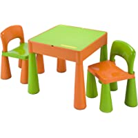 5 in 1 Activity Table & Chairs with Writing Top/Lego/Sand/Water/Storage, Green/Orange