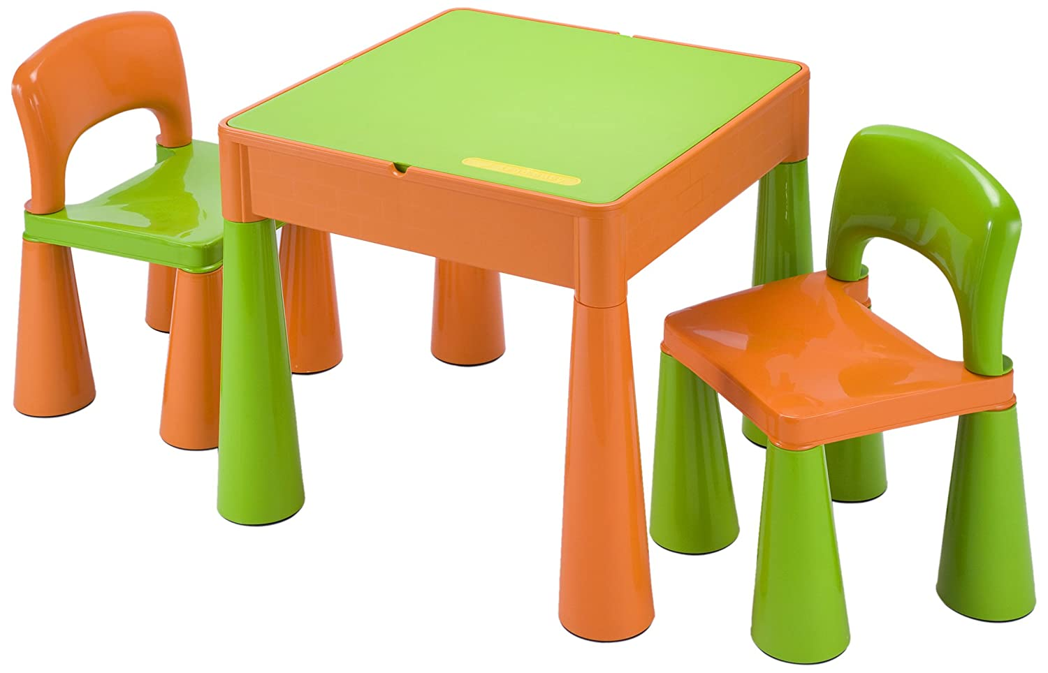5 in 1 Activity Table & Chairs with Writing Top/Lego/Sand/Water/Storage, Green/Orange Liberty House LH899G