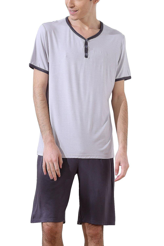 cb2e0ddbc3 Dolamen Homme Pyjamas, Hommes Ensemble de Pyjama Printemps été, vêtements de  sport, 100
