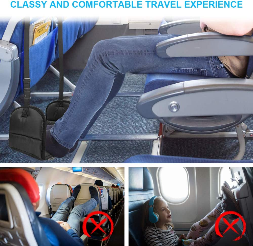 Airplane Footrest with Premium Memory Foam, Airplane Travel Accessories – Prevent Swelling and Soreness – Relaxation and Comfort for Long Distance Flights