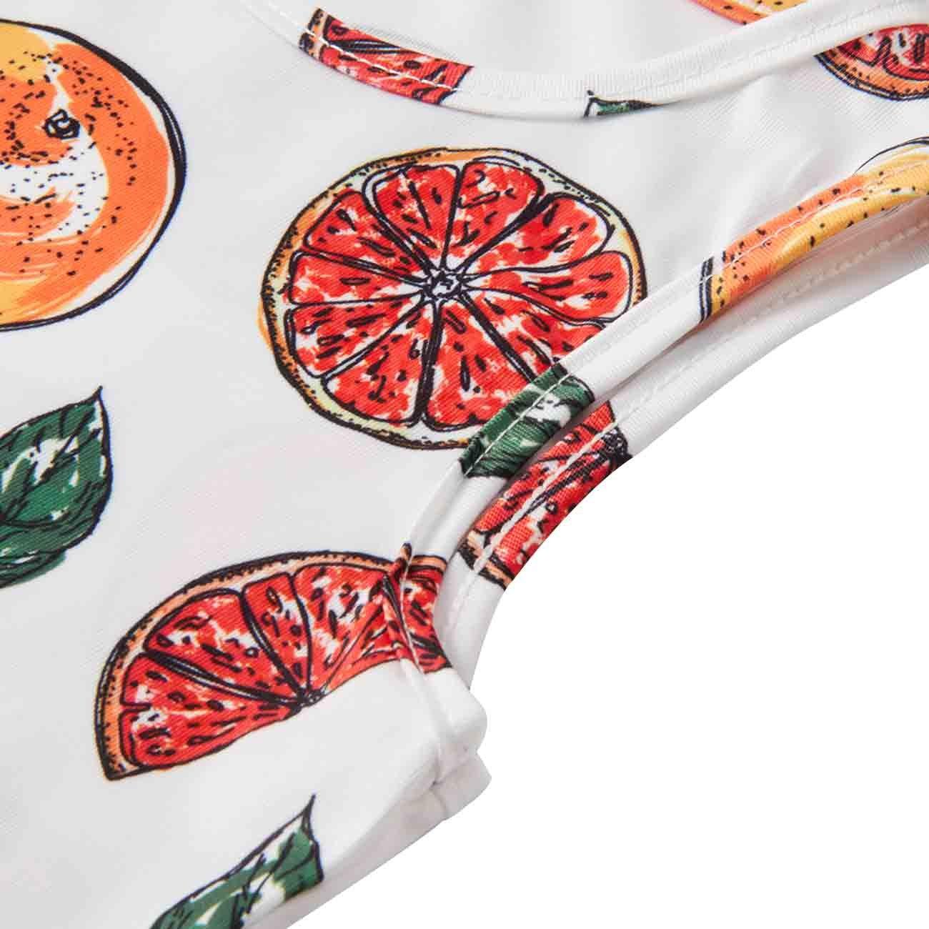BFUSTYLE Girl Print Dress, Little Girls Round Neck Sleeveless Slim Fit Casual Dresses (S,Orange)
