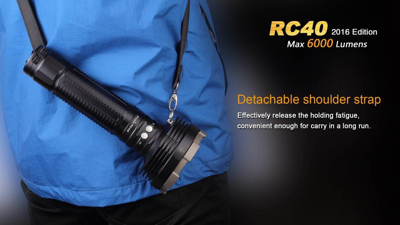 FENIX RC40 Rechargeable 6000 Lumen Cree XM-L2 U2 LED Flashlight/ Searchlight with Car / Home charger, Fenix CL05 Lip light and EdisonBright AAA battery by EdisonBright (Image #9)