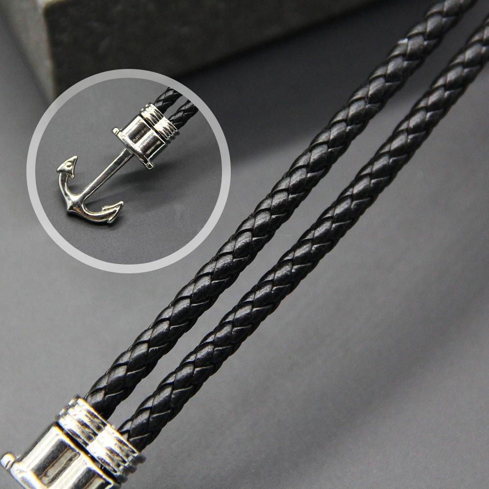 WikiMiu Bracelet Homme en Cuir Design Ancre Tress/é /à la Main Style Hip-hop Personnalit/é Bijoux Fantaisie Cadeau Pour Anniversaire No/ël et F/êtes