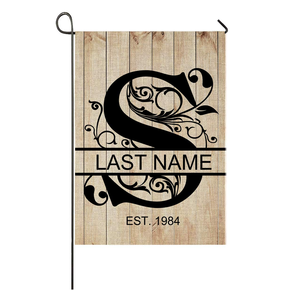 Personalized S Split Monogram Garden Flag Wood Background Vertical Double Sided Custom Last Name Burlap Garden Yard Banner Lawn Outdoor Decoration 12.5 x 18 Inch