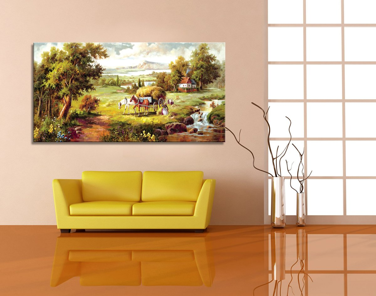 Amazon.com: Wall art Stretched Framed Ready Hang Farmland landscape ...