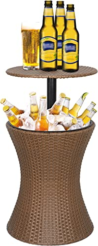Super Deal 3in1 All-Weather Cool Wicker Bar Table Ice Bucket Cocktail Coffee Table All