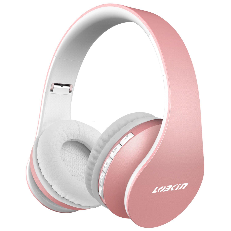 LOBKIN Bluetooth para auriculares estéreo V4.2 Música plegable Over-oreja sonido de alta fidelidad Calling construido en Mircophone manos libres, inalámbrico de conexión de cable, para Iphone X 8 7 6S 6S, 6S Plus Samsung, Android Smartphone
