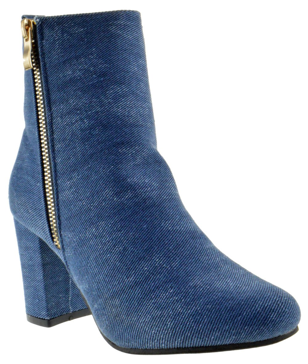 Top Moda Hampton 1 Womens Chunky Heel Ankle Booties Blue Denim 6.5