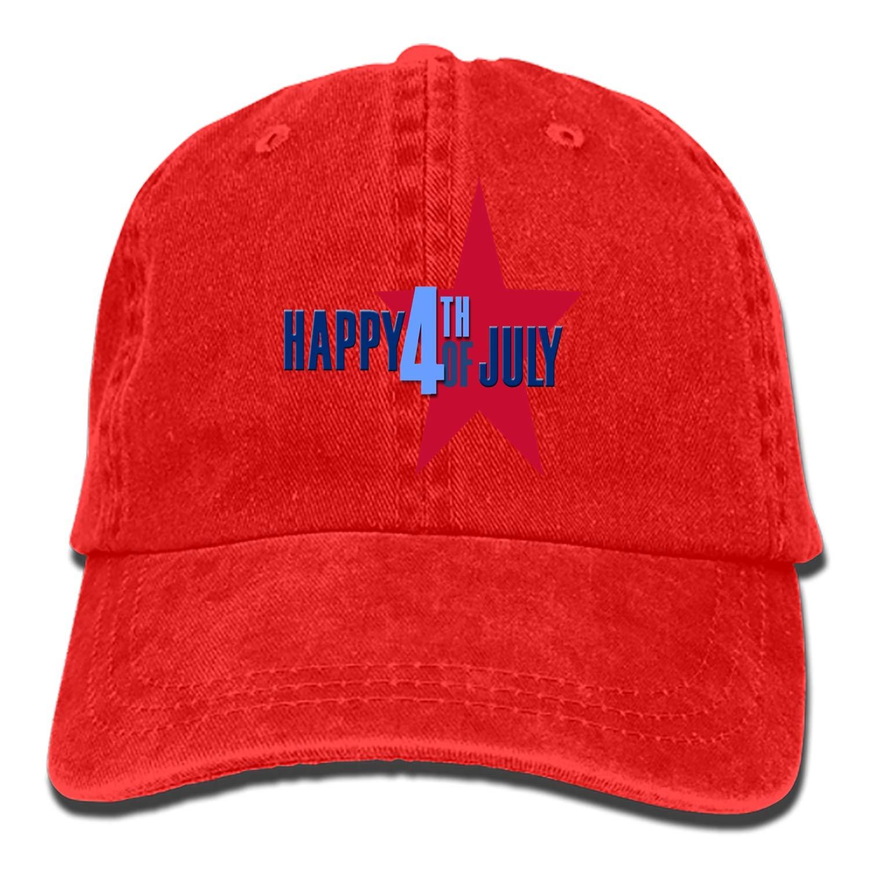 SHUANGRENDE Denim Fabric Adjustable Happy Fourth of July Vintage Baseball Cap