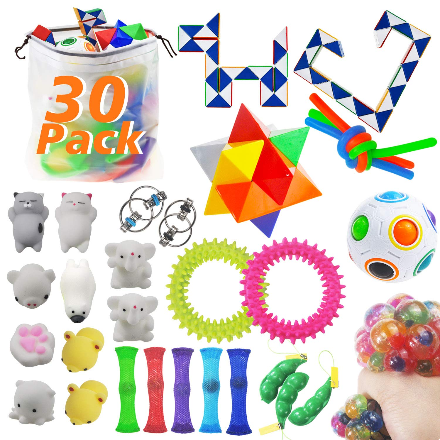 MEEKEEWAY 30 Pack Sensory Toys Set, Bundle Stress Relief Hand Fidget Toys for Kids and Adults, Special Toys Assortment for Birthday Party Favors, Classroom Rewards Prizes, Carnival, Goodie Bag Fillers by MEEKEEWAY (Image #1)