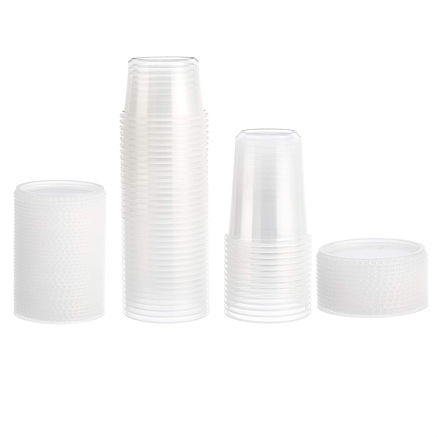 AmazonCommercial - HL0080 Deli Containers with Lids, Pack of 50, 18-8oz; 18-16oz; 14-32oz clear