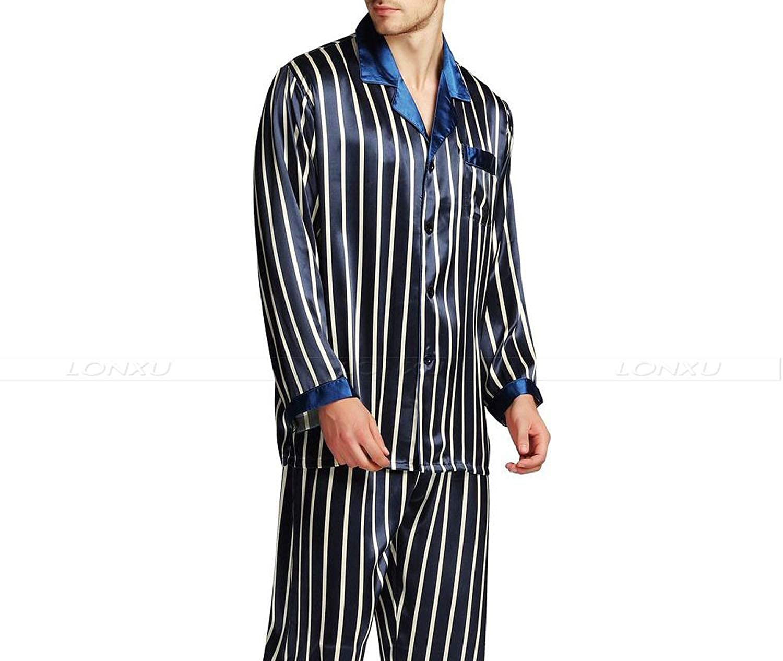 Mens Silk Satin Pajamas Set Pajama Pyjamas Set Sleepwear Loungewear