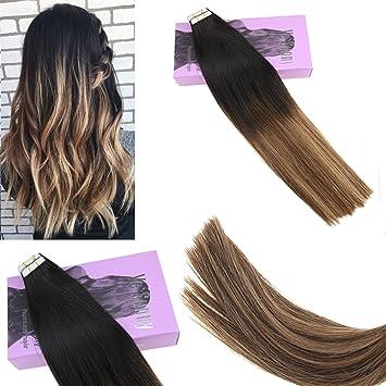 Amazon Com Vesunny 24inch Tape Hair Extensions Human Hair Balayage