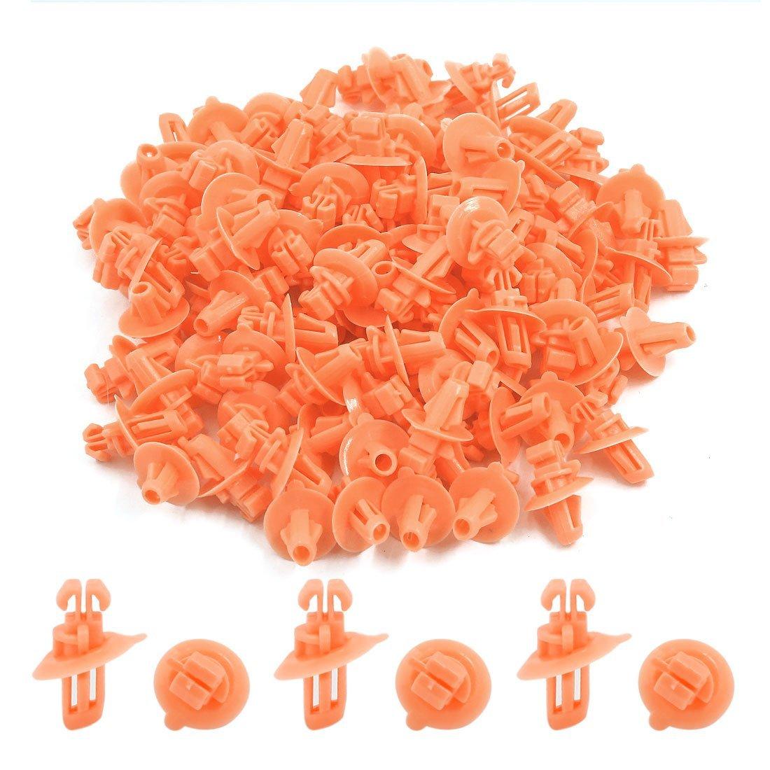 Amazon.com: eDealMax 100pcs Arco cubierta de plástico del remache de la rueda Sujetador Naranja Para Toyota: Automotive