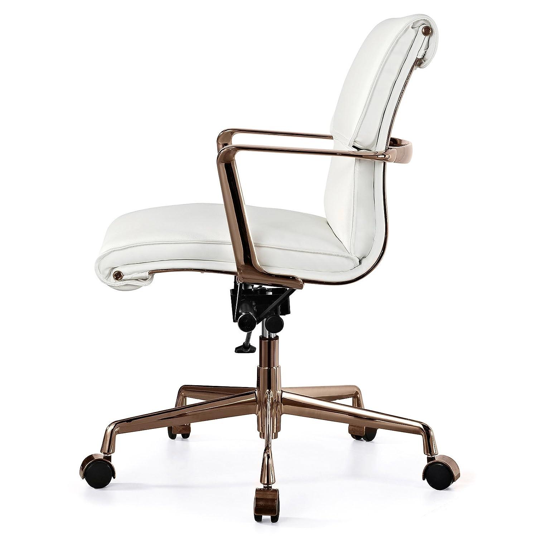 Amazon MEELANO M347 Italian Leather fice Chair Rose Gold