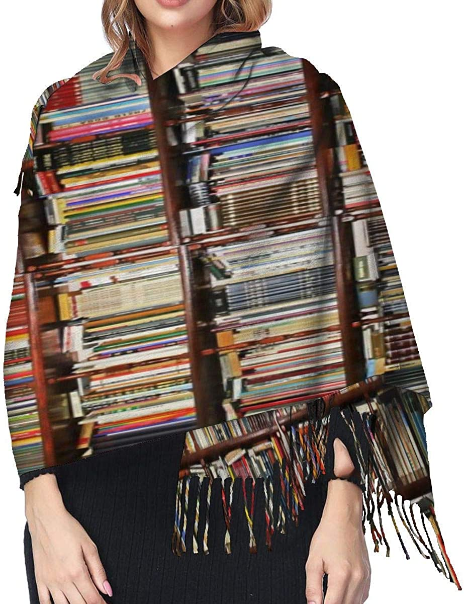 Bookcase Warm Soft Cashmere Shawl Wrap Scarves Long Scarves For Women Office Worker Travel
