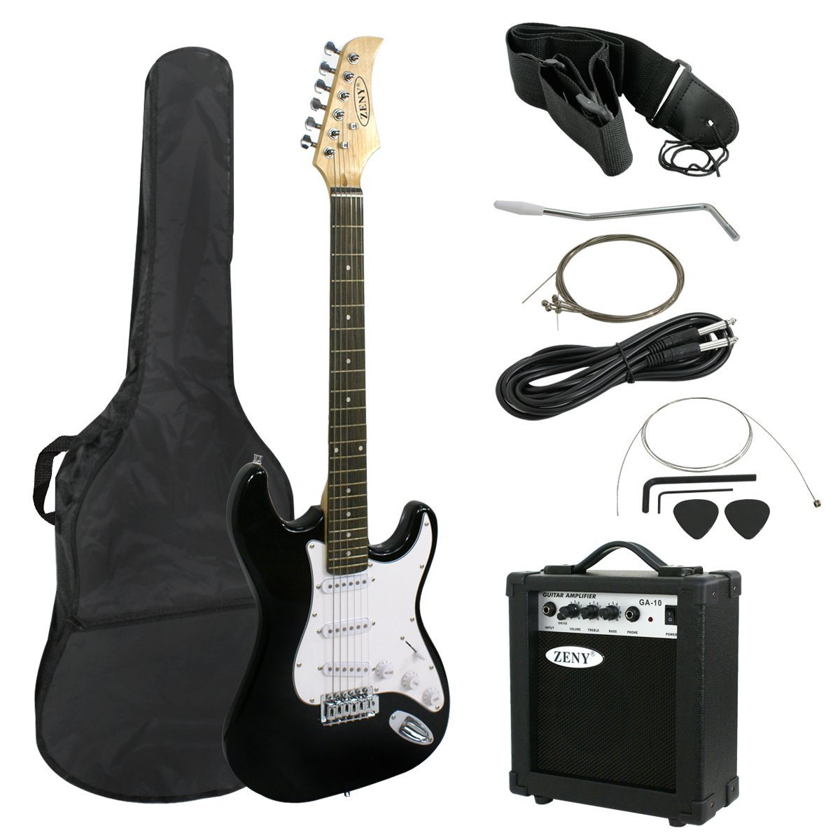 JupiterForce 39 Full Size Electric Guitar with Amp, Case and Accessories Pack Beginner Starter Package, Black (Blue)