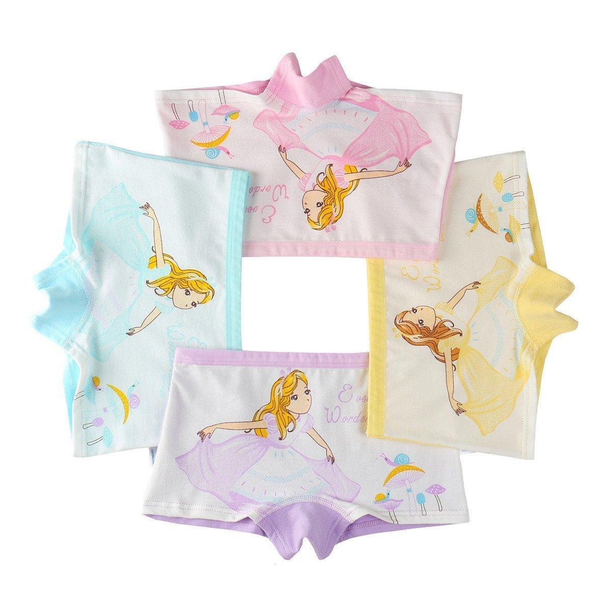 Maylife Little Girls Kids Baby Toddler 4Pcs Mushroom Princess Soft Cotton Boyshort Hipster Panties Kids Underwear