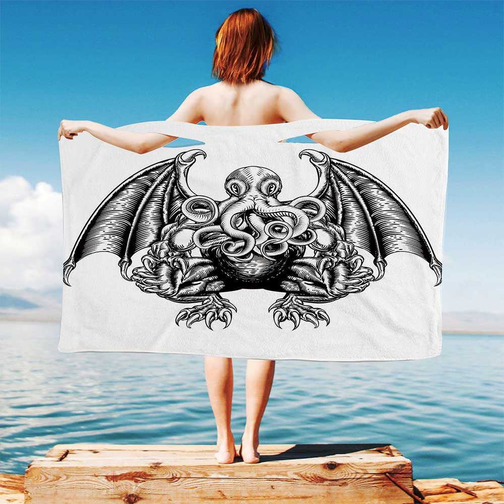 iPrint Kraken-Decor Quick Dry Plush Microfiber (Towel+Square scarf+Bath towel) Cthulhu-Monster-Evil-Fictional-Cosmic-Monster-in-Woodblock-Style-Illustration And Adapt to any place