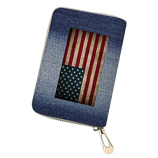 8cebc65c66f86 Geldbörse Brieftasche USA Flagge Leder Portemonnaie Geldbeutel Kupplung  Reißverschluss Reise Tasche Damen CC34 Einer Größe