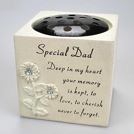 Special Dad Diamante Graveside Memorial Flower Pot Grave Vase ...