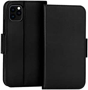 FYY Case for iPhone 11 Pro Max, Luxury [Cowhide Genuine Leather][RFID Blocking] Handcrafted Wallet Case, Handmade Flip Folio Case with [Kickstand Function] and[Card Slots] for iPhone 11 Pro Max Black