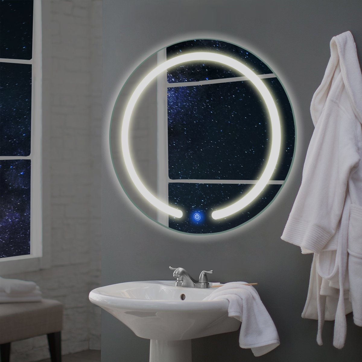 "TANGKULA 20"" LED Mirror Round Wall Mount Lighted Mirror Bathroom Bedroom Home Furniture Illuminated Vanity Make Up Lamp Wall Mounted Mirror with Touch Button (20"")"