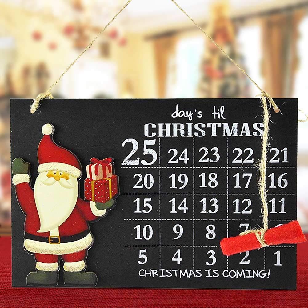 Bakaji Christmas Calendario dell'Avvento Lavagna con Gessetto in Legno in 2 Modelli Differenti Decorazioni Natalizie