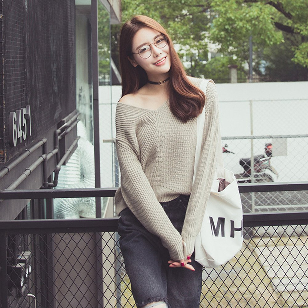 2dce7236f79b3 RACHAPE Women Baggy Knit Sweater Fall Winter Loose Sweaters Pullover at  Amazon Women s Clothing store