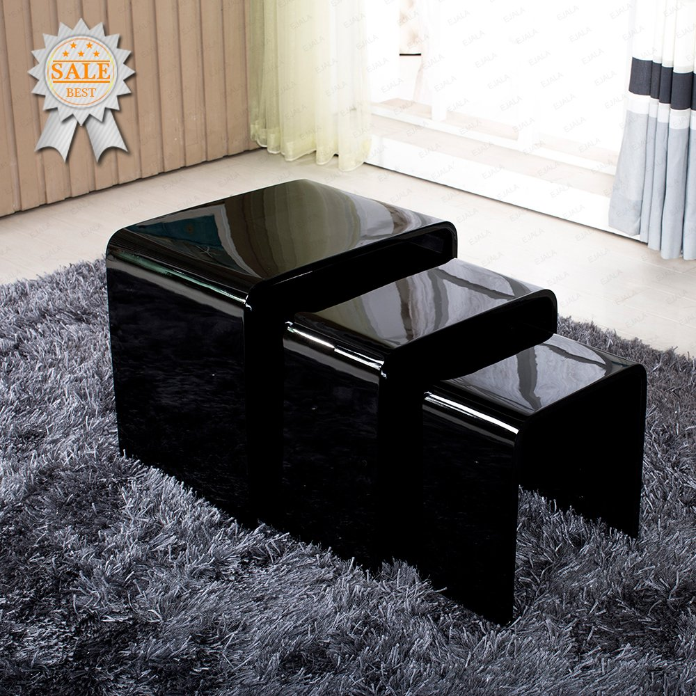 Schindora high gloss nest of 3 table black coffee table side table schindora high gloss nest of 3 table black coffee table side table living room nesting tables amazon kitchen home geotapseo Images
