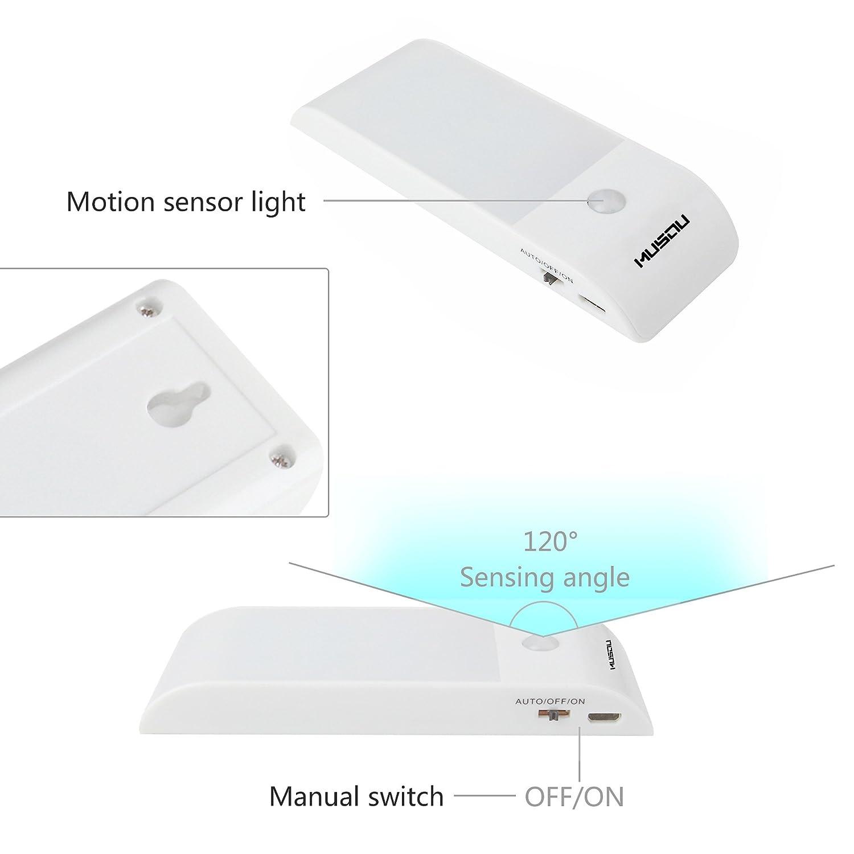 Lámpara Nocturna, Musou Luces Led con Sensor de Movimiento, Luz Recargable con Cinta Adhesiva Magnética, 3 Modos (auto/encendido/apagado) para Armario ...