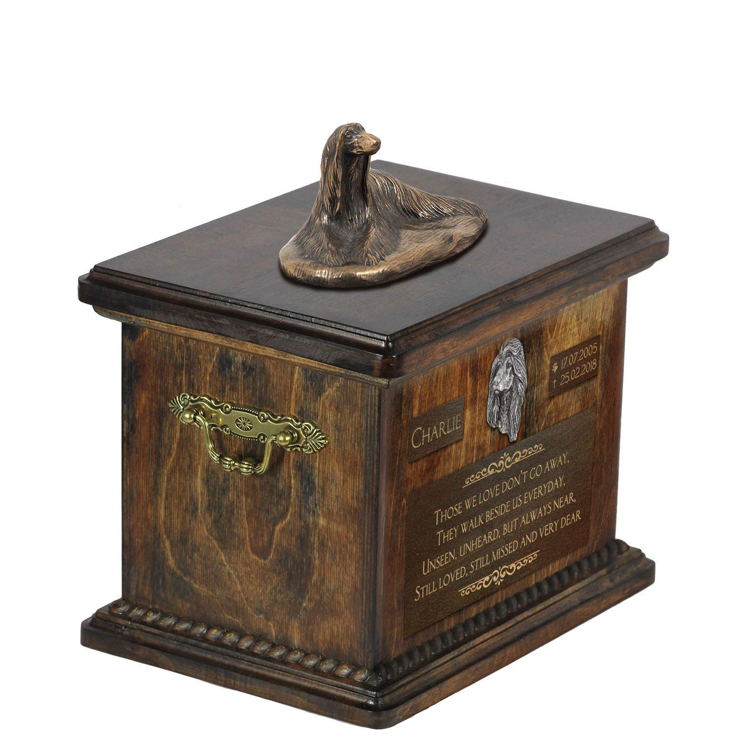 Afghan Hound lying 2, Urn for Dog Ashes Memorial with Statue, Pet's Name and Quote ArtDog Personalized