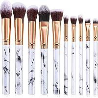 10 Pcs Makeup Brush Kit, Marble Make Up Brushes Set Professional Face Makeup Brushes for Foundation Powder, Concealers…
