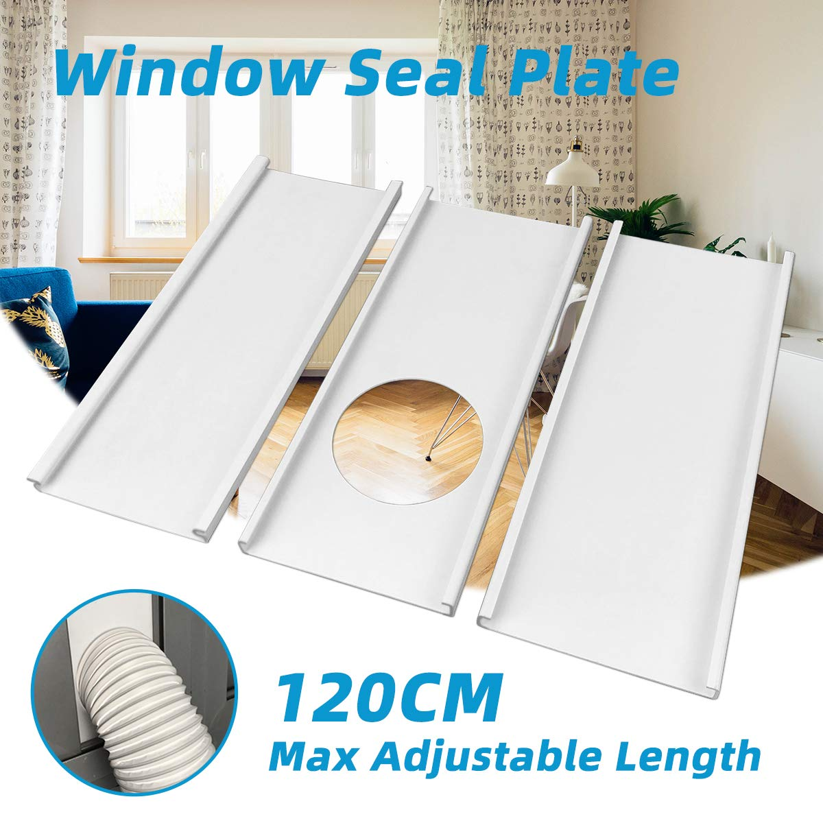 "Jeacent Portable Air Conditioner Window Seal Plates Kit, Plastic AC Vent Kit for Sliding Glass Doors and Windows, Adjustable Length Panels for Exhaust Hose of 5"" Diameter"
