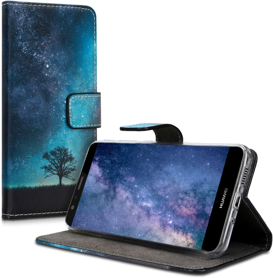 kwmobile Etui Housse Coque Portefeuille Compatible Huawei P10 Lite - Etui Folio Simili Cuir - Cosmic Nature Bleu/Gris/Noir