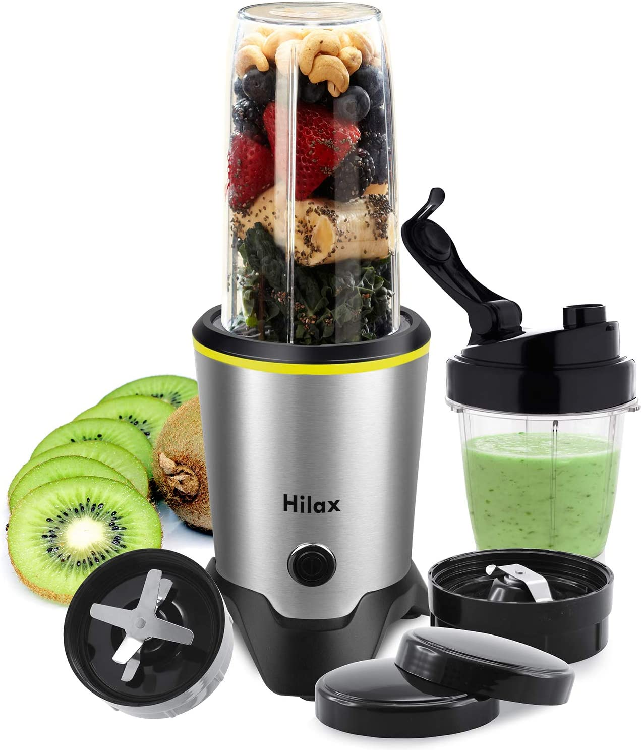 Personal Blender, Hilax 1000W Personal Smoothie Blender Coffee Grinder with 2-Set Blades for Shakes, Fruits, Baby Food, Vegetables and Beans, Tritan BPA-Free Blender Bottle, High-Speed Blender Juicers