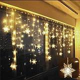 Cortina de Luces, LED Luces de Cortina, Cadena De Luces, Carámbano de Blanco Cálido con 8 Modos de Luz Perfecto para…