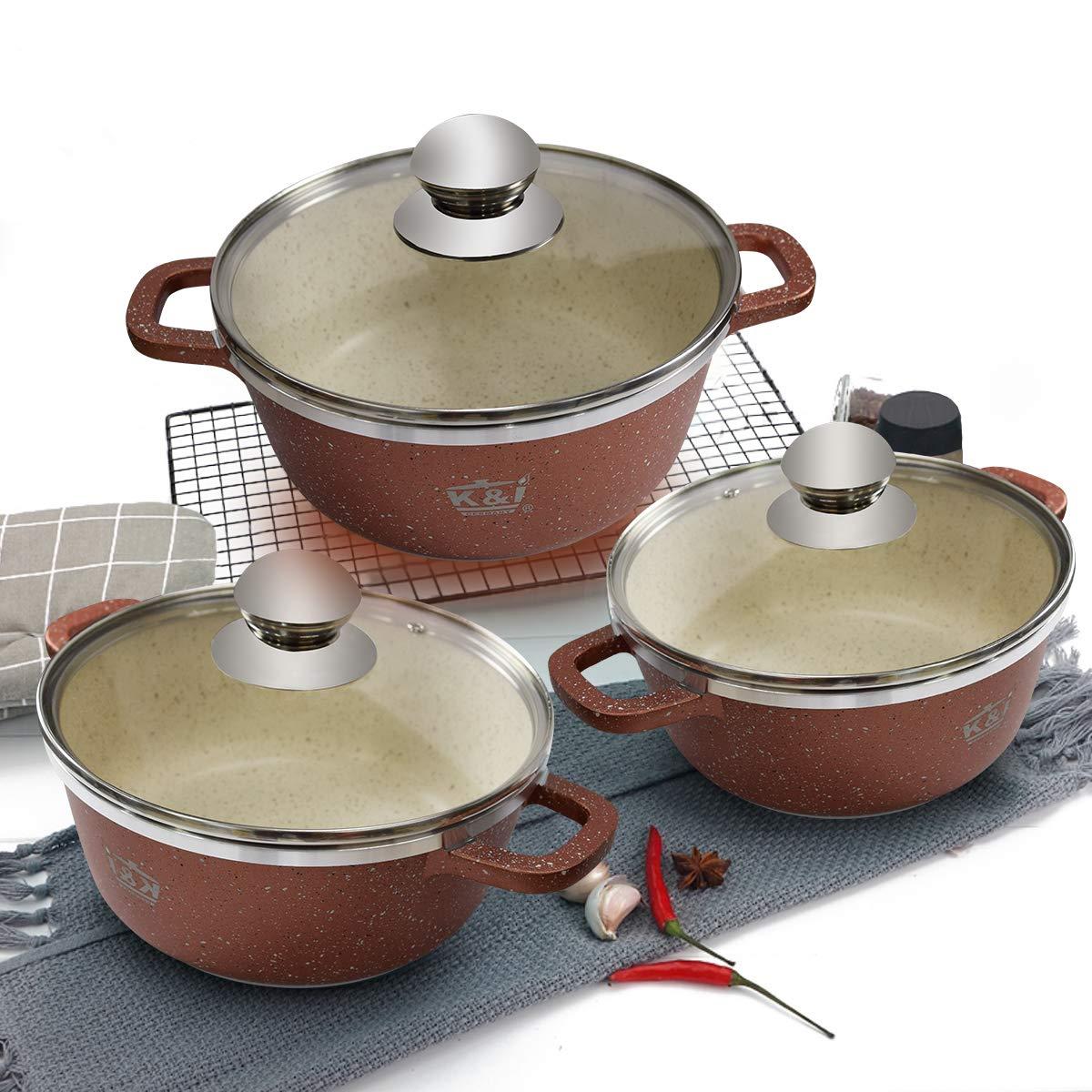 KI 6pcs Ceramic Nonstick Cookware Set Casserole Set Aluminum Pots