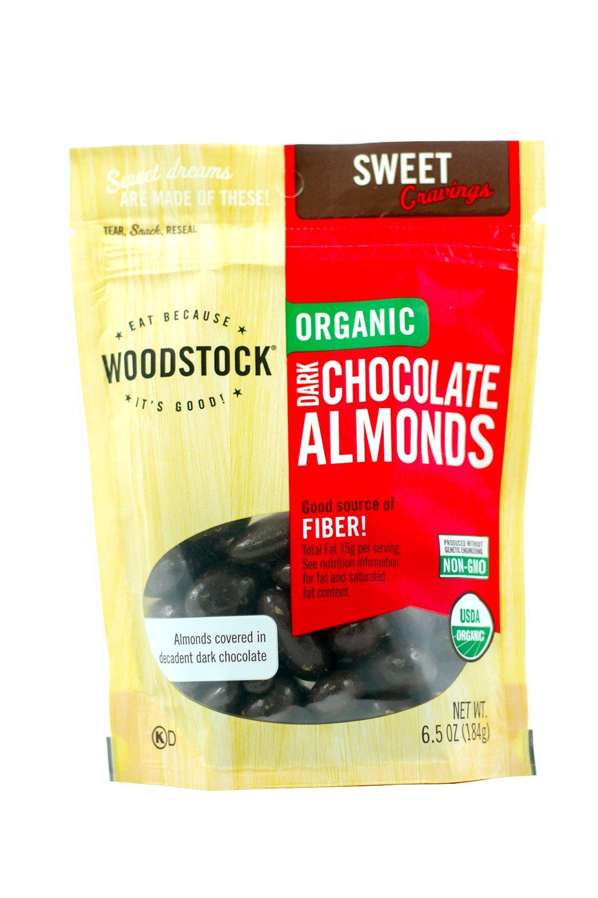 Woodstock Organic Dark Chocolate with Almonds, 6.5 Ounce