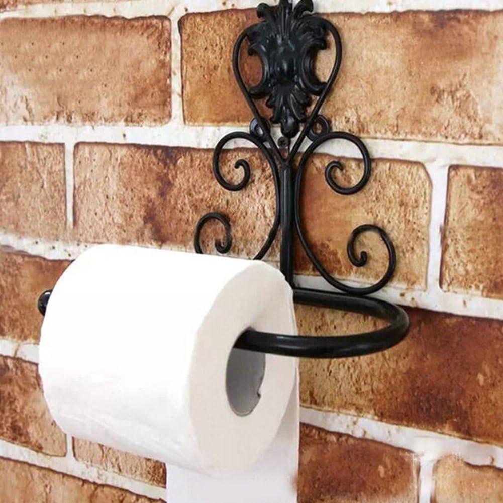 1 unidad Portarrollos de papel higi/énico de estilo vintage para montar en la pared 21*10*18cm negro